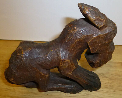 Vintage Folk Art Wood Carved Donkey Jackass Ass One Eyed Mule Figurine Brown