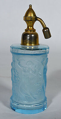 Old French Art Deco Aquamarine Molded Glass Perfume Atomizer - 3 Dancing Maidens