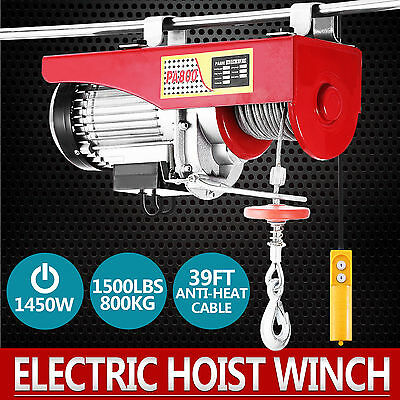 800KG Electric Hoist Winch Lifting Engine Crane Wire Motor Lift Hook Auto HOT