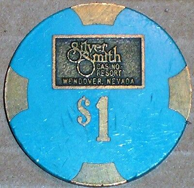 Old $1 SILVER SMITH Casino Poker Chip Vintage Antique PMSC Mold Wendover NV 1980