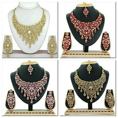 ,Indian Bollywood Fashion Wedding Gold Plated Bridal Necklace Earrings Jewelry