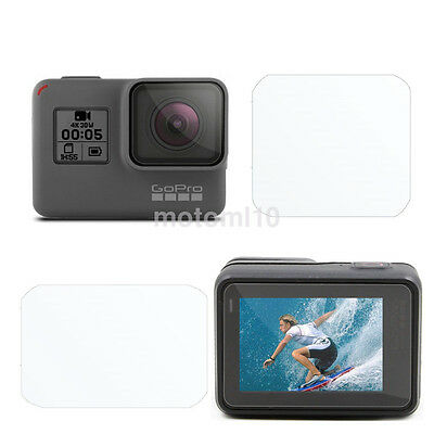 Pro 2 in 1 Clear Protective Film Screen Protector Tempered Glass f GoPro Hero 5