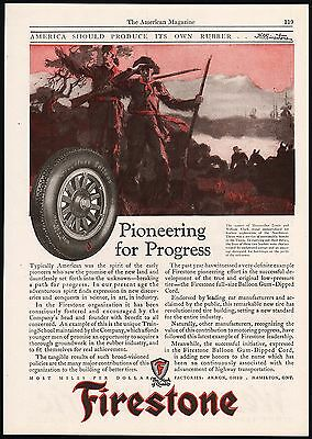 Vintage magazine ad FIRESTONE Balloon tire Lewis and Clark pictured 1925 n-mint