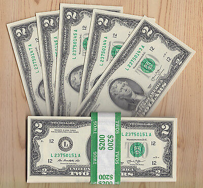 Lot of 5 $2 TWO DOLLAR $2 BILLS   US Currency Consecutive Sequential Crisp