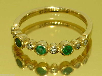 R159 Genuine 9ct Solid Gold NATURAL DIAMOND EMERALD Eternity Ring Trilogy size M