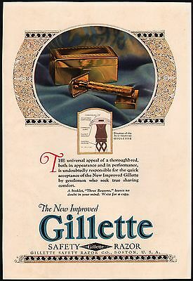 Vintage magazine ad GILLETTE SAFETY RAZOR full color picture 1923 n-mint cond
