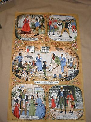 Brand New Vintage Dunmoy pure Irish Linen Scenes from Dickens tea towel in EC