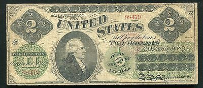 1862 $2 Two Dollars Legal Tender United States Note Series #5 Fine