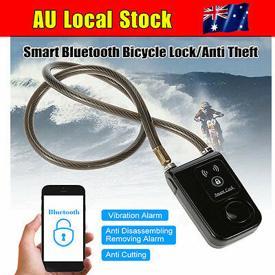 Bluetooth Smart Bike Cycle Chain Lock Anti Theft Alarm Waterproof For Smartphone