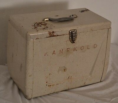 RAD! Vintage Mid-Century White KampKold Metal Ice Chest Picnic Cooler READY!