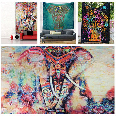 Indian Elephant Psychedelic Tapestry Wall Hanging Mandala Hippie Bedspread Throw