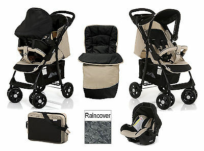 Hauck shopper shop n drive Travel System pushchair Carseat Caviar black almond+