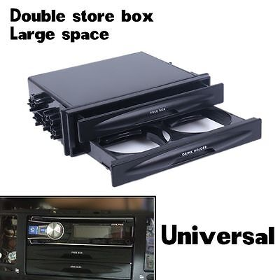 Car Universal Double/Single Din Radio Pocket Kit Drink Cup Holder + Storage Box