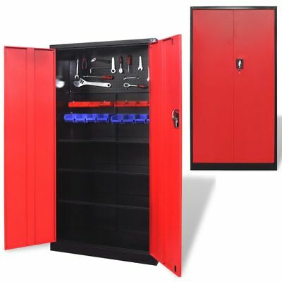 "Metal Tool Cabinet Storage Organizer Locker Wardrobe 3 Shelves 71"" Black and Red"