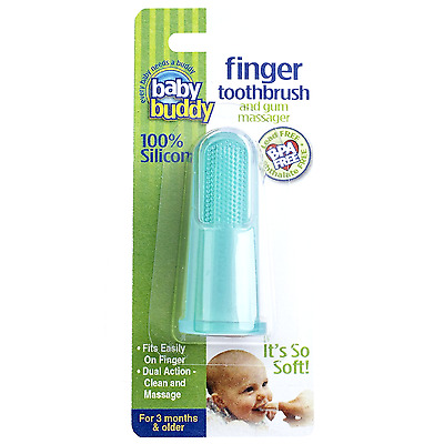 Baby Buddy Green Finger Toothbrush Tooth Gum Massager Teether Teething Brush