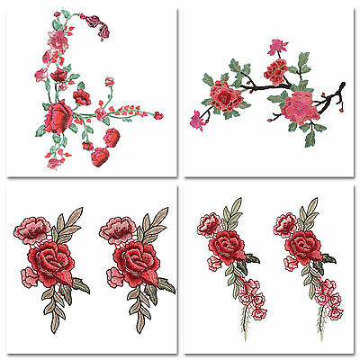 Rose Flower Applique Badge Embroidered Sew Floral Embroidery Patch Dress Craft