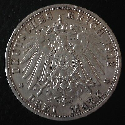 1912 Drei 3 Mark Silver Coin