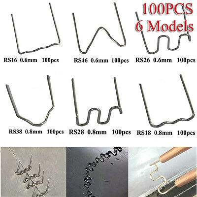 100X Pre Cut 0.8mm/0.6mm Wave Flat Hot Staples for Plastic Stapler Repair Welder