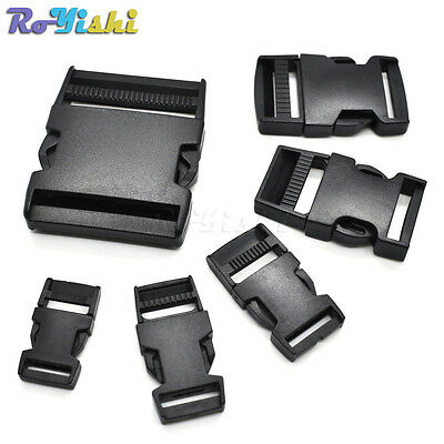 Plastic Straight Side Release Strong Buckle For Backpack Straps Webbing Black