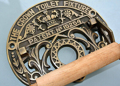 Toilet roll holder vintage style old antique CROWN solid brass heavy fixture