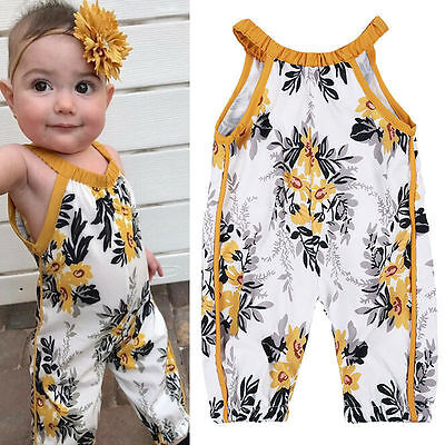 Infant Baby Girls Floral Romper Jumpsuit Bodysuit Sunsuit Clothes 0-4 Years