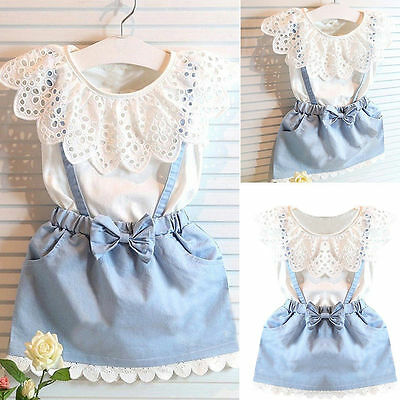 Sweet Kids Baby Girl Toddler Clothes T-shirt Tops+Overalls Dress Skirt Outfit AU