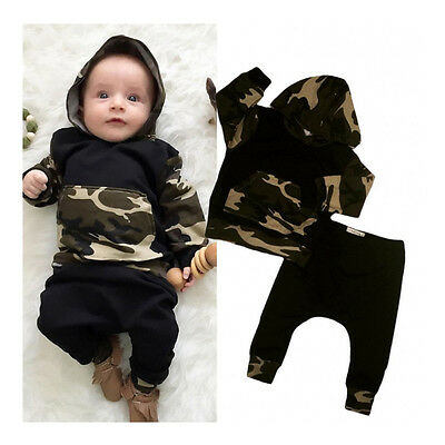 Newborn Kids Baby Boys Camo Tops Hoodie Long Pants 2Pcs Outfits Set Clothes 0-2T