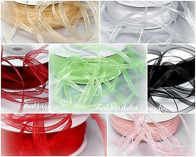 100 m 3 mm 18 Colors Organza ribbon Bow ribbon Wedding Chiffon ribbon