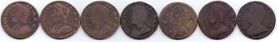 7 Coins- George Ii, Copper Half-Penny 1730 1732 1742 1743 1744 1751 1751