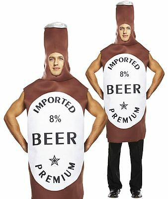 Mens Beer Bottle Costume Funny Brown Fancy Dress Festival Stag Night Outfit