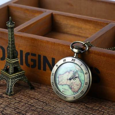 Vintage Quartz Retro Delicate Map Necklace Pendant Unisex Fob Pocket Watch Gift