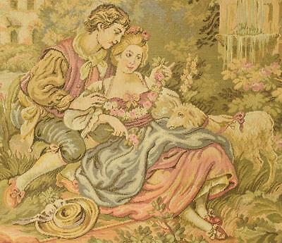 Divine Vintage French Tapestry Wall Hanging, Romantic Chateau Jardin Scene
