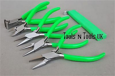 """Green 4-1/2"""" Pliers & Knotting Tool 6 Pcs Set/ Kit Jewellery Wire Beads In Pouch"""