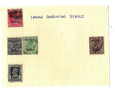 INDIAN CONVENTION STATES Stamps HINGED ON A PAGE (5)