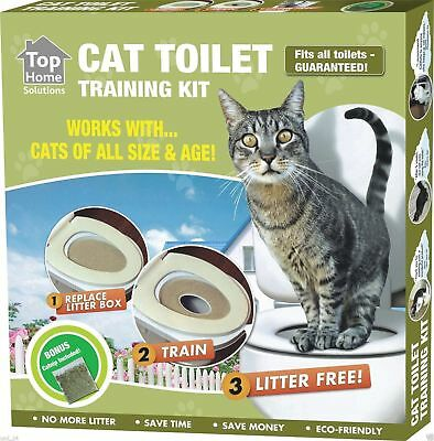 New Cat Toilet Seat Training Litter Box Tray Potty Train System Pet Kitty