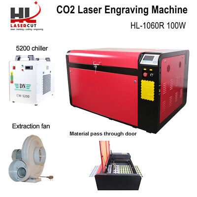 RECI 100W CO2 Laser Engrave Cutting Machine RUIDA DSP/Auto Focus/5000 Chiller
