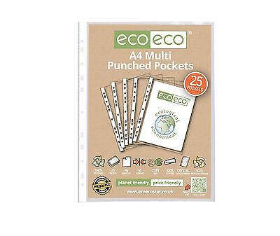 25 x A4 PUNCHED POCKET STRONG SLEEVE GLASS CLEAR SMOOTH PLASTIC WALLETS ECOECO
