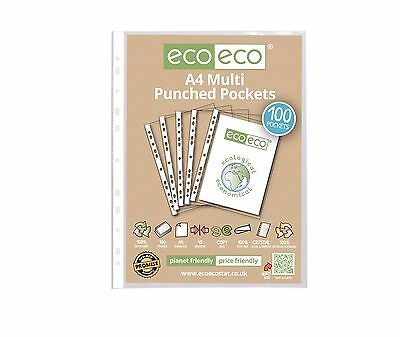 100 x A4 PUNCHED POCKET STRONG SLEEVE GLASS CLEAR SMOOTH PLASTIC WALLETS ECOECO