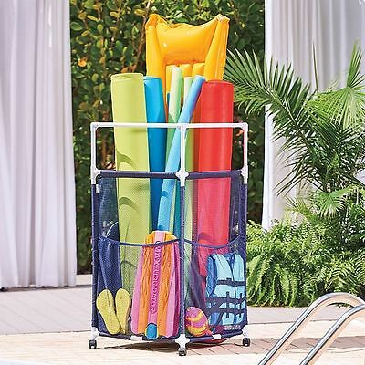"24""Sq x 48""H PVC Polyester Mesh Outdoor Rolling Pool Toy Noodle Raft Storage Bin"