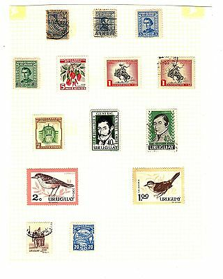 URUGUAY Vintage To Modern Stamps HINGED ON A PAGE (14)
