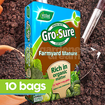 10 x Westland 50L Farm Yard Horse Manure Multi Purpose Conditioner Fertiliser