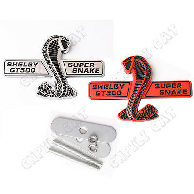 1x Super Snake Shelby GT500 Car Front Grille Emblem ABS Sticker for Mustang
