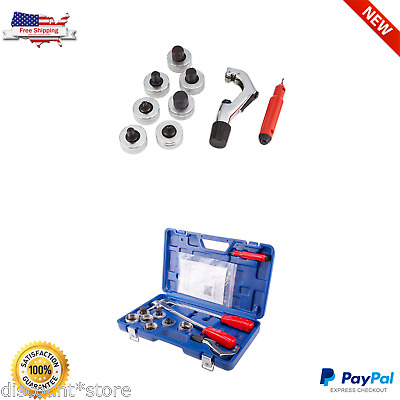 Tube Expander Pipe HVAC Tool Set Swaging Kit 7 Heads Copper Cutting Capacity New