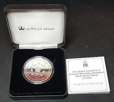 The Queen Elizabeth II Longest-Reigning Monarch Solid Silver Proof £5 Coin (B3)