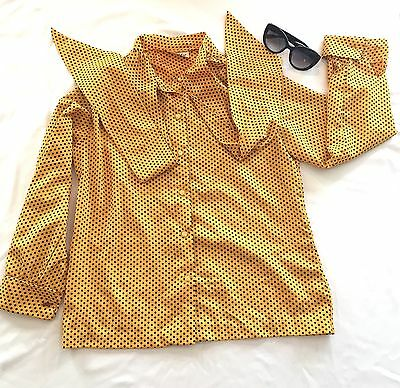 Vintage Women's Mustard Yellow Blouse w/ Blk Polka Dots Long Sleeve Button Front