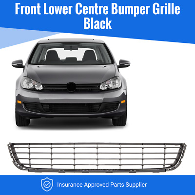 Vw Golf Mk6 2008-2013 Front Bumper Grille Black Lower Centre Insurance Approved