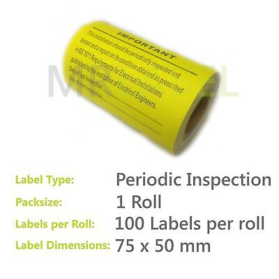 100x Periodic Inspection & Test Electrical Safety Label Roll 75x50mm