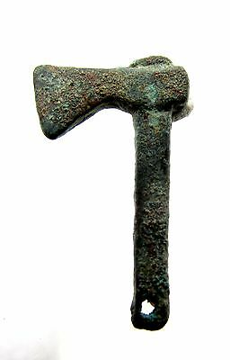 Romano-Celtic Bronze Battle Axe Pendant - Rare Ancient Wearable Artifact - F183