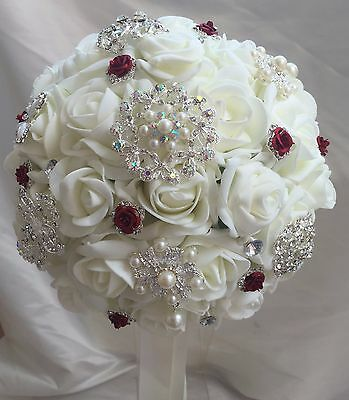 Bridal Posy Bouquet  IVORY  Roses  with Brooches