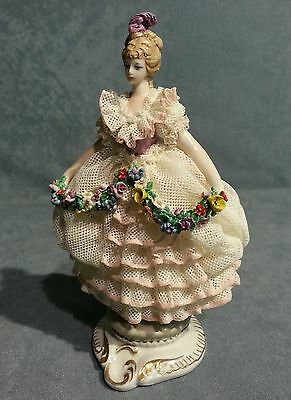 PORCELAIN CAPODIMONTE young lady. in miniature with lace,and garland flowers